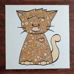 Tendre chat orangé - 20cm x...