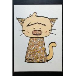 Petit chat orangé 13x18cm